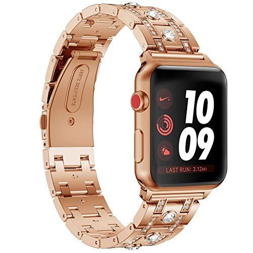 Tubatu Banda de diamante para Apple Watch de 38 mm y 40 mm, diamantes brillantes de acero inoxidable para reloj inteligente de Apple Watch Series 4 3 2 1 (38 mm/40 mm, oro rosa)