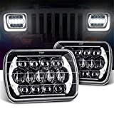 Willpower 2 Pieces 105W LED Headlights 7x6 Rectangular H4 Plug Replacement for Wrangler H6014   H6052   H6054...