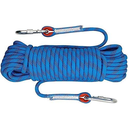 Outdoor-Kletterseil, 2 karabiner, Hochfestes Seil mit 8mm Durchmesser Sicherheitsseil Geflecht Nylon Seil, Länge 10m, für Outdoor Wandern Zubehör Sport Camping (10m, Blau, 8mm)