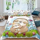 Sloths - Juego de funda de edredón para bebé y madre de perezoso para niños y niñas, funda de edredón con diseño de ramas, funda de edredón para dormitorio, colección de 3 unidades de tamaño doble