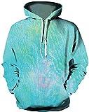 Ocean Plus - Sudadera con capucha para hombre, diseño de lobo y león Galaxia verde claro. S/M