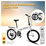Folding Bike 7 Speed ​​City Folding Mini Compact Bike Bicycle Mini Bicycle Compact Bikes Adults Men, Women Students, Office Workers Folding Bike 20 in (Orange)