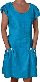 "JUTOO Women""s Casual Dress Pure Color Ruffled Pockets Short Sleeve,O-Neck Shift Daily Buttoned-Decor Dresses,Mini Dress,Summer Dress,Beach Dress"