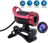 Mavis Laven Webcam , 360 Degree Rotation USB2.0 Webcam 12M Cámara Web HD Micrófono Incorporado para PC Laptop Desktop(Rojo)
