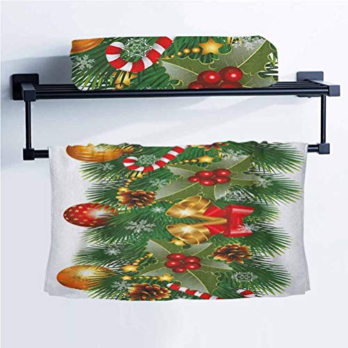 ScottDecor Christmas Car Towel Bath Towel Pine Tree Branch Detailed Ornaments Bells Berries and Cones Cheerful Holiday Noel Multicolor 14' W x 14' L