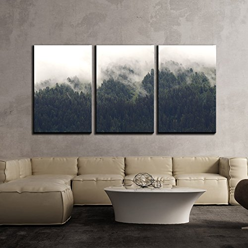 """wall26 - 3 Piece Canvas Wall Art - Landscape of Trees Forest in Mist - Modern Home Decor Stretched and Framed Ready to Hang - 24""""x36""""x3 Panels"""