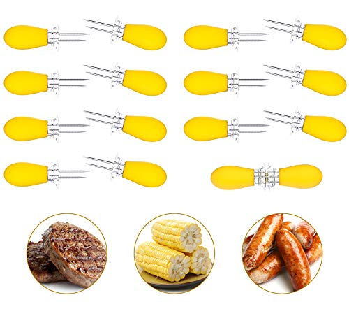Unves Corn Holders, 16Pcs/8 Pairs Stainless Steel Corn On The Cob Sweetcorn Corn Skewers, Interlocking Double Fork for BBQ Camping Outdoor Kitchen Tool