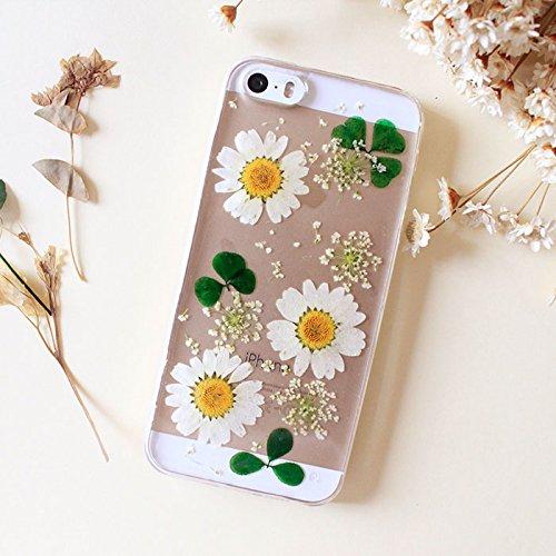 Carcasa personalizada para Samsung Galaxy S6, hecha a mano, con flores prensadas, para Samsung Galaxy S6, funda rígida y transparente para mujer