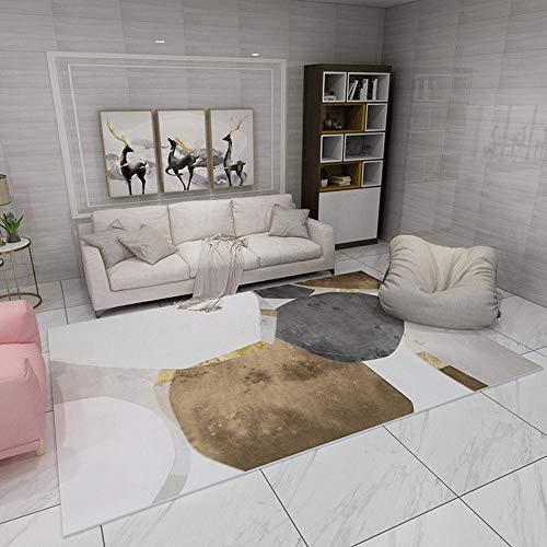 Alfombras moqueta Alfombra Suave con diseño geométrico marrón Negro Gris fácil de Limpiar Comoda Salon alfombras Dormitorio Matrimonio 140X200CM