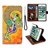 GackCase Wallet Case Designed for iPhone 6/6S Plus Tree Frog Protective PU Leather Flip Cover with Credit Card Slots and Side Cash Pocket+Magnetic Clasp Closure