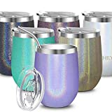 Stainless Steel Wine Tumbler Insulated - THILY T2 Stemless Travel Wine Glass Coffee Cup with Sliding Lid and Reusable Straw, Keep Cold & Hot for Coffee, Cocktails, Drinks, Glitter Lavender