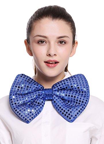 Dress Me Up - BB-041-blue XXL Fliege Bowtie Binder riesig blau Pailletten Clown Zirkus Karneval Show