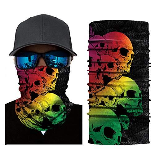 Fahrrad Motorrad mit Totenkopfmotiv Ski Radfahren Halbe Staubschutzmaske Gesichtsmaske Halswärmer für Nase Atmen Halswärmer Outdoor Sports Maske für Erwachsene Männer Frauen (E)