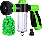 Water Hose Nozzle Sprayer - High Pressure Garden Hose Nozzle 8 Way Spray Pattern with 3.5oz/100cc Soap Dispenser Bottle Car Wash Foam Gun for Watering Plants, Lawn, Patio, Cleaning, Showering Pet
