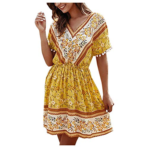 Masrin Damen A-Linie Kleid Mode Boho Blumendruck Swing Kleid Bequemes Kurzarm V-Ausschnitt Knielanges Kleid Empire Skater Kleid Strandkleid(XL,Gelb)