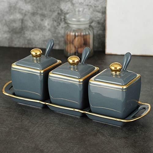 ZLDGYG El Tarro de condimento 3 latas fijó la Caja de condimento, Estante de cerámica del utensilio de Cocina del Tarro de Sal del Almacenamiento