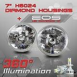 Optix H6024 7 Inch Round Sealed Beam Headlight - Clear Glass Diamond Cut Housing - H4 LED Conversion Kit 6000K Cool White 8000LM 80W