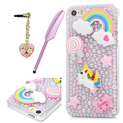 MOTIKO Coque iPhone Se, Licorne Rose Fait à la Main Bling Perles de Cristal Clair PC Coque Rigide de Protection Coque avec Prise de la Poussière et Stylet pour iPhone 5/iPhone Se