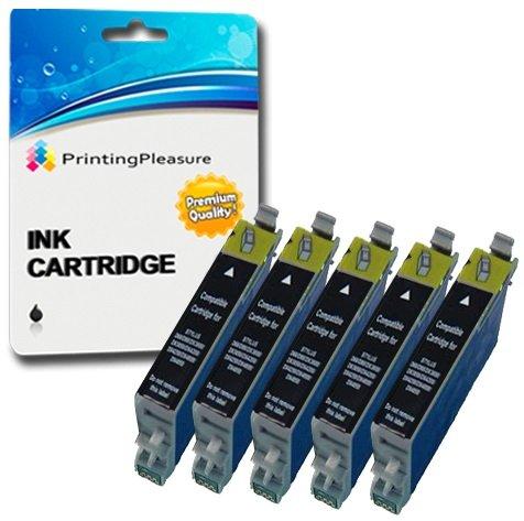 5 XL Tintenpatronen kompatibel zu Epson T0611 für Stylus D68 D88 D88+ DX3800 DX3850 DX3850+ DX4200 DX4250 DX4800 DX4850 DX4850+ - Schwarz, hohe Kapazität