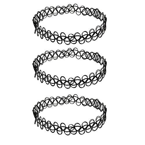 Shunshida 3tk Tattoo Halskette schwarz | Choker stretch Schmuck Kette