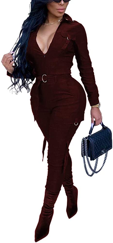 ECHOINE Women's Manufacturer direct delivery Sexy Zipper V-Neck Limited time sale Lon Bodycon Stretchy Jumpsuit