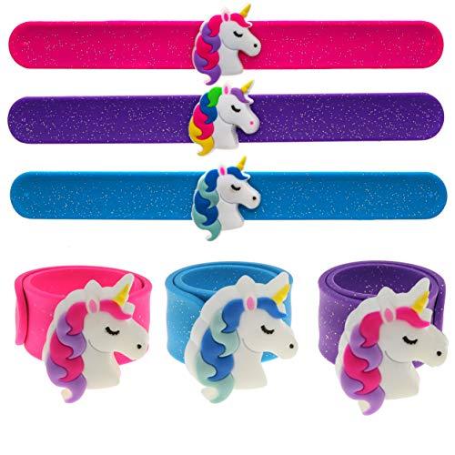 FROG SAC 3 PCS Flashing LED Unicorn Slap Bracelets for Kids, Light Up Unicorn Slap Wrist Bands, Unicorn Toy Bracelets for Girls, Tween Girls Birthday Party Favors, Goodie Bag Fillers, Easter Basket Stuffers