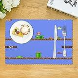 『4枚セット』スーパーマリオ ランチョンマット 食卓マット プレースマット 撥水 断熱 滑り止め 給食 アニメ キャラクター かわいい 男の子 女の子 子供用 キッズ こども