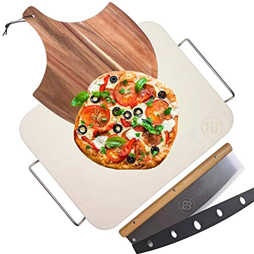 Pizza Stone for Oven and Grill with Wooden Pizza Peel Paddle & Pizza Cutter Rocker Slicer Set - Detachable Serving Wire - BBQ Grilling Accessories - Baking Supplies - 15 inch x 12 inch Large Stone
