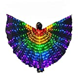 AIHANCH LED Belly Dance Wings Girls Colorful Butterfly light Up Wings with Sticks for Kids Stage Halloween Costumes (Kids Wings)