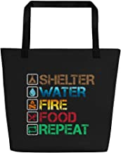 "Beach Bag - Camping Survival Rules - Shelter Water Fire Food, 16x20"" Black"