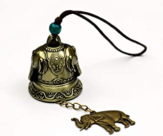 DMtse Chinese Lucky Feng Shui Elephant Vintage Bell for Wealth and Safe, Success, Ward Off Evil, Protect Peace - Home Gard...