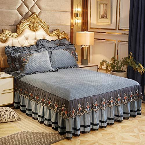 Luxus Spitze Rüschen Bettvolant, Dick Velvet Spannbettlaken Tagesdecke,Wrap-around Rutschfeste Gesteppter Bettüberwurf Bett Rüschen Altertümlichste Volant Bettdecke-grau 180x200cm(71x79inch)