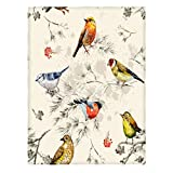 Kameng Colorful Birds Pattern Throw Blanket Soft and Comfortable Sofa/Bed Blankets 60' x 80'