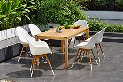 Brampton Sheffield 7-Piece Rectangular Outdoor Dining Set | Teak Finish | Ideal for Patio and Indoors, White