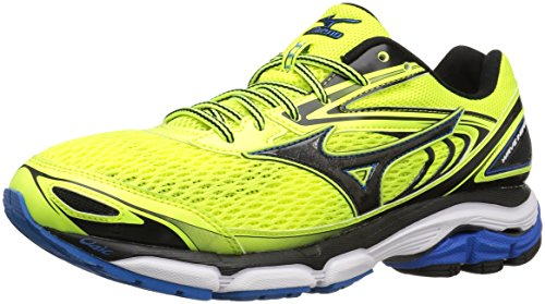 Mizuno Men's Wave Inspire 13 Running Shoes, Safety Yellow/Black/Directoir Blue, 7 D US