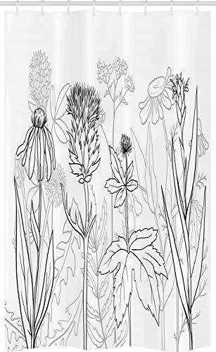 ABAKUHAUS Distel Schmaler Duschvorhang, Ges&heit Kräuter-Muster, Badezimmer Deko Set aus Stoff mit Haken, 120 x 180 cm, Grau Weiß