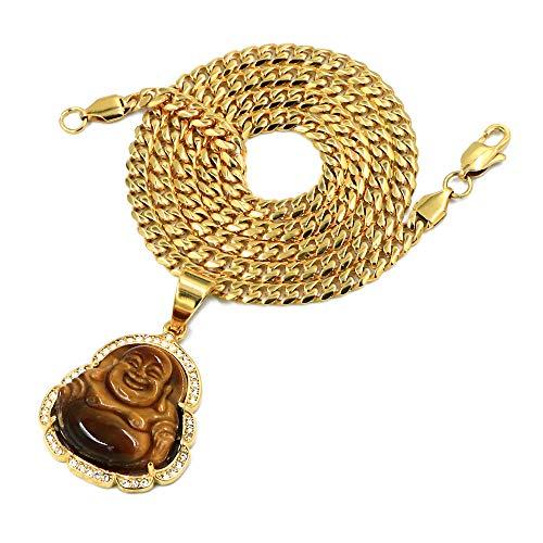 Raonhazae Stainless Steel Gold Iced Smiling Chubby Buddha (Tiger Eye Stone) Pendant w/Cuban Chain (24)