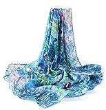 prettystern - bufanda de seda enrollada a mano señoras azul 90 cm Monet 100% seda - lirios de agua P773