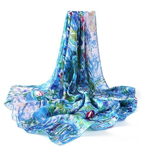 prettystern Damen Handrolliert Seidentuch Umschlag-Tuch Blau 90 Cm Monet 100% Seide - Wasserlilien P773