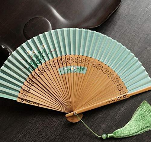 Madrian Handfächer Weiblicher Fan Japanischer Faltfächer Bambusgriff Fan Geschenk Fan-Licht Green_Fan Im Fan I.