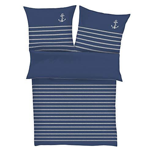 Zeitgeist Cuxhaven Bettwäsche 135x200 cm - Satinbettwäsche dunkelblau, 100% Baumwolle, 2 teilig mit Reißverschluss