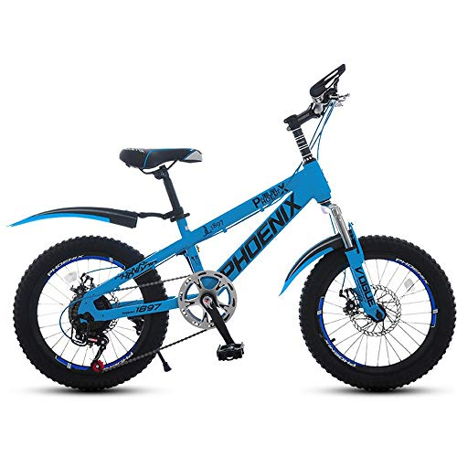 Axdwfd Kids Bike 18' & 20' Kids Outdoor Bicycle 7-Speed Adjustable,for 9-14Years Old Boys and Girls Adjustable Children Mountain Bike,Blue, Green, Red (Color : Blue, Size : 20in)