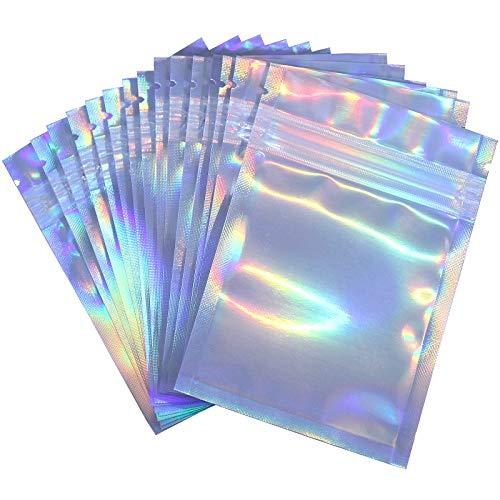 Paquete de 100 bolsas resellables a prueba de olores, bolsas de papel con cierre de cierre, planas, bolsas de almacenamiento de alimentos, bolsas de plástico de embalaje, color arco iris holográfico (10 x 15 cm) (100)