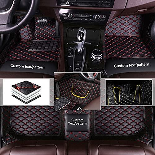 Auto-Fußmatten Anpassbare 95% Auto-Modell Vollverkleidete Vordere Hintere Reihe Bodenmatten Allwetterschutz Automatten Schwarz mit Rot
