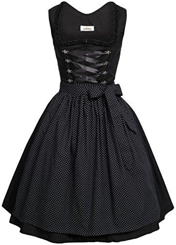 BEST-PRICE Midi Dirndl Amelie in schwarz von Almsach, Größe:40, Farbe:Schwarz
