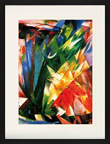 1art1 Franz Marc - Die Vögel, 1914 Gerahmtes Bild Mit Edlem Passepartout | Wand-Bilder | Kunstdruck Poster Im Bilderrahmen 80 x 60 cm