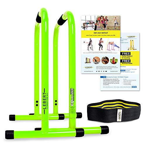 Lebert Fitness Dip Bar Stand - Original Equalizer Total Body Strengthener   Pull Up Bar Home Gym Exercise Equipment Dipping Station   Hip Resistance Band, Workout Guide & Online Group - Black (XL)