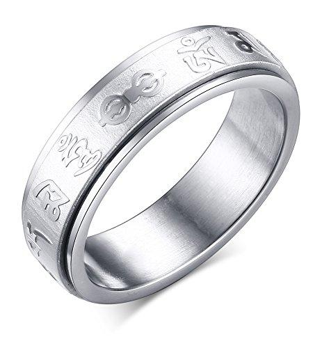 Vnox Edelstahl Spinner Tibetische Mala Sechs berühmte Wörter Ring für buddhistischen Gläubigen,6mm Breite