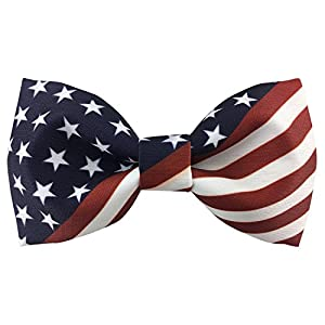 100% Satin Silk Mens Pre-tied Bowtie Stars Stripes American Flag Solid Bow Ties
