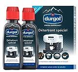 durgol swiss espresso – Détartrant spécial anti-calcaire pour tous types de machines à café – Enlève le calcaire efficacement – Version française – 2 x 125 ml